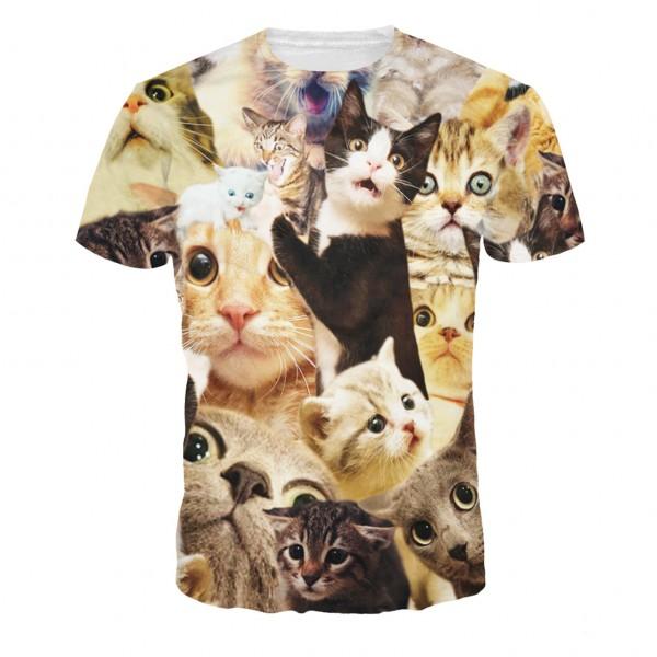 2016 Women Men T Shirt Funny Cats Animal 3D Print T-shirt New Brand Harajuku Homme Fashion Men's Tee Shirt