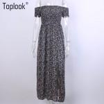 2016 Women Sexy Slash Neck Strapless Off Shoulder Dress Open Side Printed Long Maxi Dresses Summer Vintage Evening Party Vestido