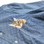 2016 denim shirts polka dot Fashion Ladies' pocket cat embroidery Denim Women Shirts Casual ladies Slim Blouses Jeans shirts
