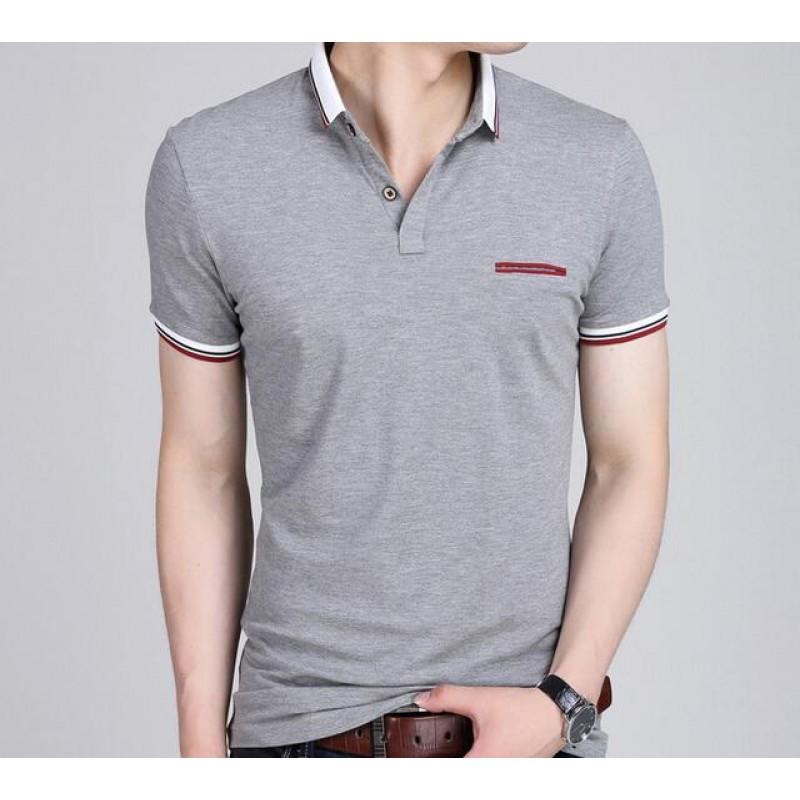 fashion new design solid color men\'s short sleeve polo shirt slim ...
