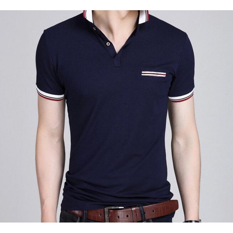 2016 fashion new design solid color men\'s short sleeve polo shirt ...