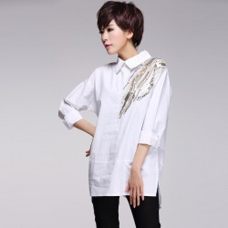 2016 new European fashion blouse and long sleeved shirt Lapel loose white shirt size personality tide