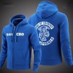 2016 new SOA Sons of anarchy sweatshirt samcro cashmere zip cardigan jacket zipper loose cotton men's Hoodies Sweatshirts