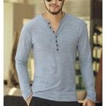 2016 new Tee Tops Long Sleeve Stylish Slim Fit T-shirt Button placket Casual Outwears Popular Design New Men Henley Shirt