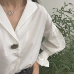 2016 new loose white black solid color shirt autumn fashion women batwing sleeve v neck blouses ladies shirts