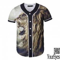 2016 newest high quality hip hop t shirt with animal pirnt lion/cat black white graphic t shirts street wear cool tees tops #025