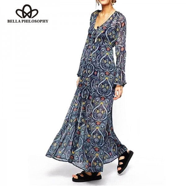 2016 spring autumn new Womens ethnic Boho trumpet kimono long sleeves heart paisley print v-neck chiffon long maxi dress blue