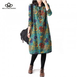 2016 spring summer new cotton and linen ethnic flroal print plus size casual women dress