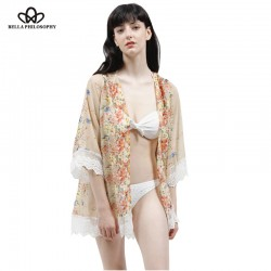2016 summer autumn new floral flowers placement print loose chiffon kimono Cardigan coat lace hem real photo