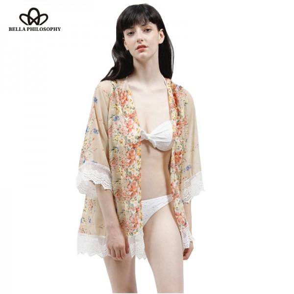 2016 summer autumn new floral flowers placement print loose chiffon kimono Cardigan coat lace hem real photo