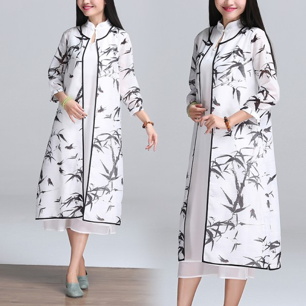 2017  New 2 Peices China Wind Cheongsam Loose Waist Printing Ink Seven Sleeve Two Piece Dress