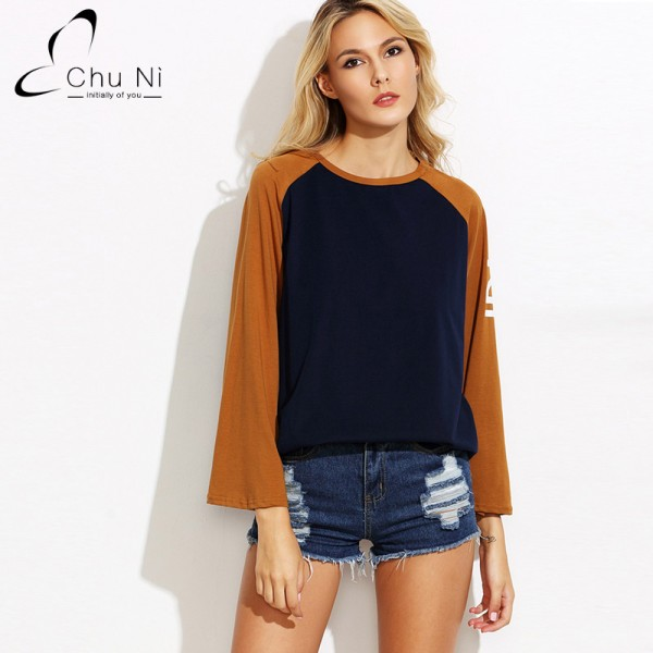 2017 Autumn Fall Fashion Casual T Shirt Women Tops Womens Clothing Patchwork O Neck Full Flare Sleeve Casual T-shirt S004