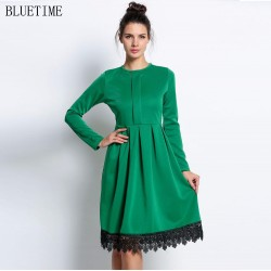 2017 Autumn Vintage Dress Women Plus Size Long Sleeve Green Rockabilly Lace Club Party Tunic T Shirt Dress Robe 20