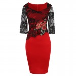 2017 Autumn Winter Women 3/4 Sleeve Square Collar Rose Embroidered Lace Patchwork Bodycon Vintage Pencil Dress Plus Size S-5XL
