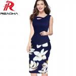 2017 Autumn Women Dresses Print Floral Patchwork Button Casual Dress Business Sleeveless Zip Back Bodycon Summer Office Dress