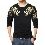 2017 Autumn new high-end men's brand t-shirt fashion Slim Dragon printing atmosphere t shirt Plus size long-sleeved t shirt men