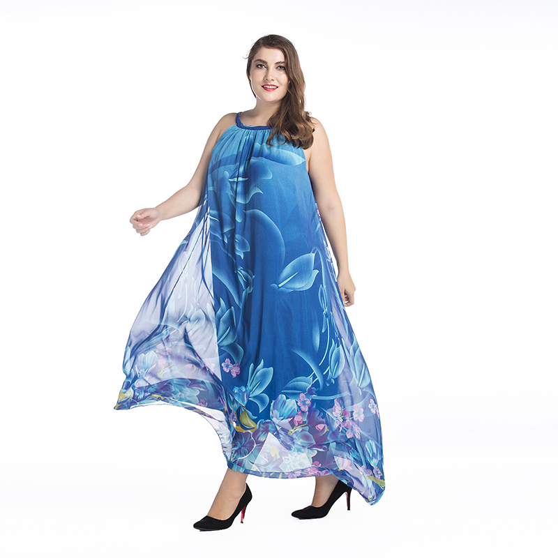 Bohemian Women Summer Dress Slash Neck Halter Chiffon Dress Long ...