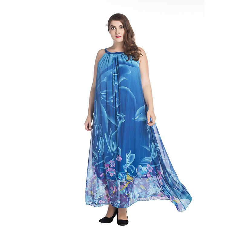2017 Bohemian Women Summer Dress Slash Neck Halter Chiffon Dress ...
