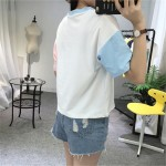 2017 College Harajuku Hit Color Sleeves Summer Funny T shirts Women Fashion OK Gesture Loose Girls Top Female T-shirt Plus Size