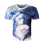 2017 Creative Novelty Triangle The Lion Print 3D Animal T shirt For Men Women Outwear T-shirt Cool Colorful Camisetas Hombre