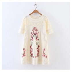 2017 Embroidery Flower Spliced Lace Dress Ethnic New Woman Hollow Out Lace Wrinkle Cotton Short Sleeve Cotton Dresses