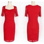 2017 European station super large size lace dress women's new design square collar half sleeve slim plus size 7XL 8XL 9XL dress
