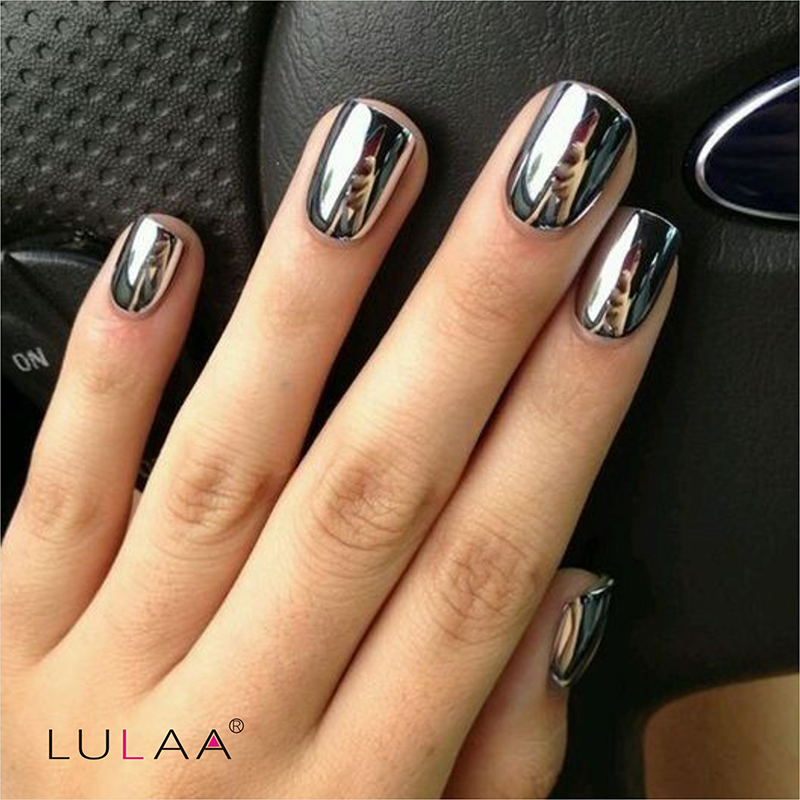 2017 Fashion 2pc/lot 6ml Silver Mirror Effect Metal Gel Nail Polish ...
