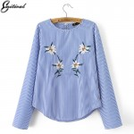 2017 Fashion Women Blue Striped Floral Embroidery Shirt Long Sleeve o-neck Blouse Female Casual Office Wear Brand Tops Blusas