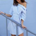 2017 Fashion one shoulder Blue striped women dress shirt Sexy side split Elegant half sleeve waistband OL girls  beach dresses