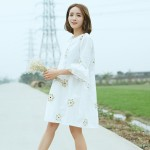 2017 Free Shipping New Summer And Spring Dress  Women  Dimensional Embroidery Small Fresh Cotton  Plus Size Fashion