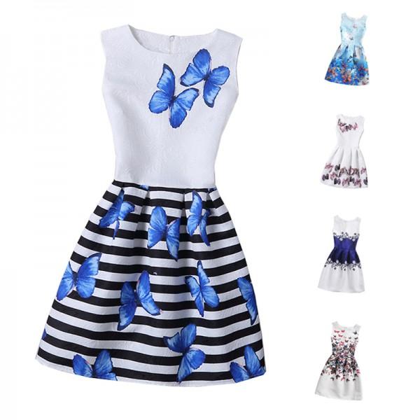 2017 Girls Dress Summer Butterfly Floral Print Teenagers Dresses for Girls Designer Formal Party Dress Kids Vestido 6-12Y