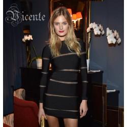 2017 HOT Free Shipping! Fabulous Popular B*lmain Sheer Mesh Stripe Long Sleeves Club Celebrity Wholesale Party Bandage Dress