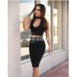 2017 Hot Free shipping! Must Have Solid Color Fashion Choker Deep Vneck Two-pieces Set Celebrity Wear Bandage Dress