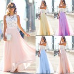 2017 Lace Mesh Yarn Dress 2017 New Long Lace Chiffon Evening Formal Party Ball Gown Prom Brides Maxi Dress Floor-Length O-Neck