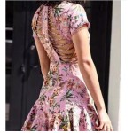2017 Luxury Runway Woman Pink Tropical floral print Lattice Summer Dress cutout Crossover straps back lace trims Short Sleeved
