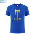 2017 Marilyn Manson Logo Fashion Printed Mens T Shirt Short Sleeve O Neck Cotton T-Shirt Top Tee Camisetas Park Large Size Dress