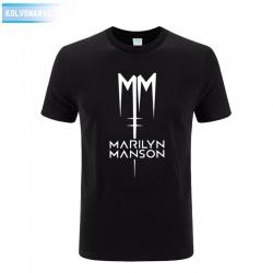 2017 Marilyn Manson Logo Fashion Printed Mens T Shirt Short Sleeve O Neck Cotton T-Shirt Top Tee Camisetas Park Large Size Dress