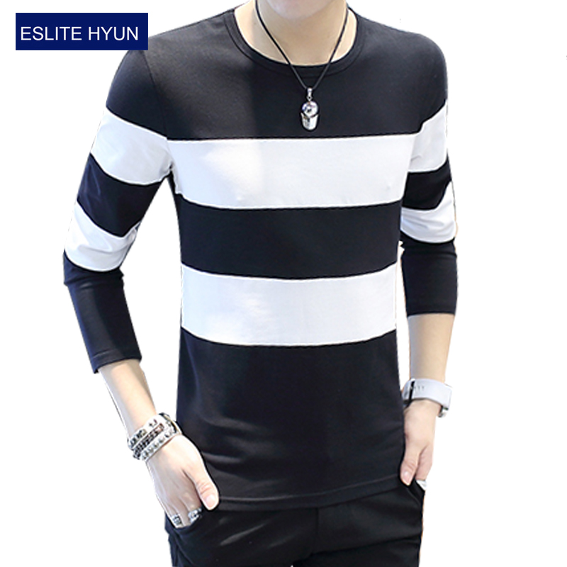 2017 new fashion brand casual fitness tshirt striped for Brand name long sleeve t shirt