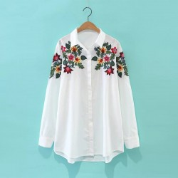2017 New Arrival Elegant Embroidery Flowers Women Shirt Casual Turn-down Collar Single-breasted White Female Shirt