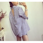 2017 New Autumn Casual Women Shirts Loose Striped Hollow Out Vertical Cross Back Blouse Shirt Red Blue Stripe 2135