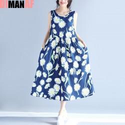 2017 New Big Size Summer Sundress Women Dress Sleeveless Floral Print Linen Sundress Female Casual Beach Large Size Blue Dress