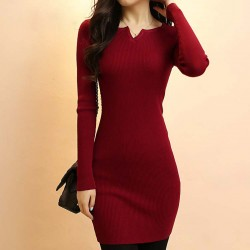 2017 New Fashion Autumn Women Pullover Knitted Sweater Dress Casual Long Sleeve Stretch Basic Dress Ladies Winter Dress W00755