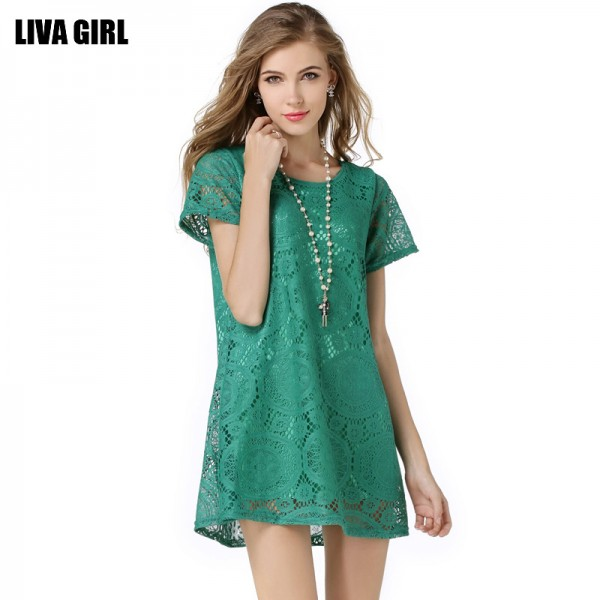 2017 New Fashion Wild Women Slim Sexy Hook flower hollow Lace Elegant Party Dress Short-sleeved Clothes Casual Dresses L426