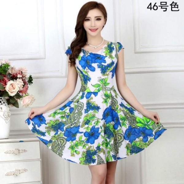 2017 New Fashion Women Summer Milk Silk Dress Short Sleeves Vintage Printed Flower Print sundress Casual sexy bodycon Dresses