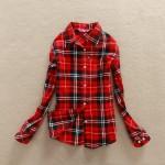 2017 New Hot Sale Long Sleeve Cotton Plaid Shirt Turn Down Collar Shirt Blusas Feminino Ladies Blouses Womens Tops Fashion