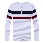 2017 New Men Long Sleeve T Shirt Men Cotton Casual Striped T-shirt Men O Neck Pullover tshirt Brand Clothing Plus Size M-XXXL