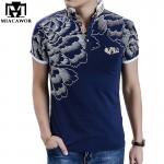 2017 New Men POLO Shirt Fashion Flower Print Polo Homme Slim Fit Short-sleeve Camisa Polo Men Summer Tops&Tees MT497