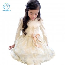 2017 New Spring Korean Style Girls Dress Cute Pears BowKnot Lace Longsleeves Princess Dress For Wedding And Party Kids Clothing