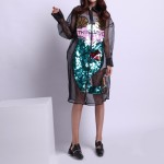 2017 New Spring Summer Sequins Perspective Mesh Printing Stitching Long Sleeve Cardigan Dress