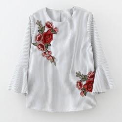 2017 New Spring Women Vestido Red Rose Embroidery Striped Blouse Female Flare Sleeve Shirt Women o neck Blusa Feminina LS1029